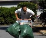 Homeless men cart racing